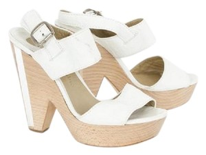 Chloé Silver Hardware Ankle Strap Leather White Sandals