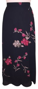Susan Bristol Long Maxi Skirt Black Floral