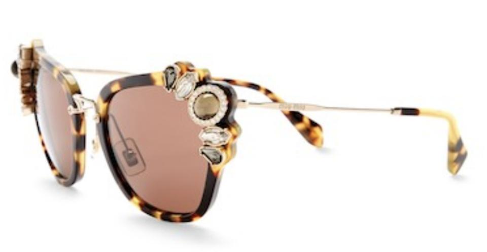 e5ba210169c Miu Miu Brown New Embellished Cat Eye Havana Sunglasses - Tradesy