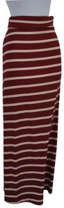 DILLARDS Maxi Skirt MAROON/WHITE