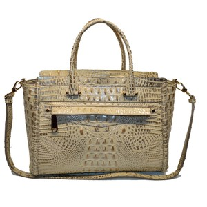 Brahmin Croco Business Harper Satchel in Silver Birch Melbourne