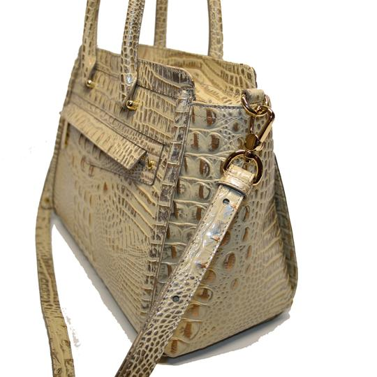 Brahmin Croco Business Harper Satchel in Silver Birch Melbourne Image 1