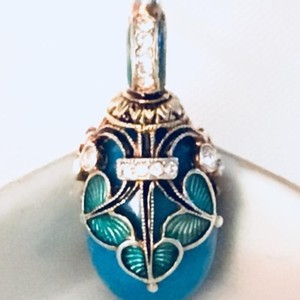 Faberge Egg Pendant Vintage Handmade Faberge Style St Petersburg Russian Egg Pendant
