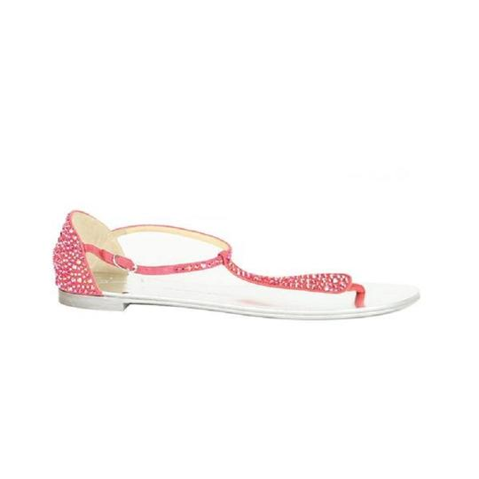 Giuseppe Zanotti Crystal Strappy Suede Metallic Pink Sandals Image 4