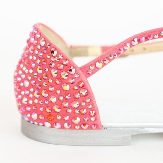 Giuseppe Zanotti Crystal Strappy Suede Metallic Pink Sandals Image 5