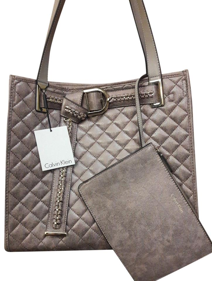c81a34685ab Calvin Klein Quilted Spring Tote in Metallic Taupe Gray Neutral Image 0 ...