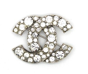 Chanel Rare Cc Large Crystals Textured Hardware Brooch Pin Charm