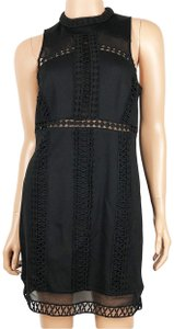 Free People short dress Black Skyscraper Crochet Cutout Bodycon on Tradesy