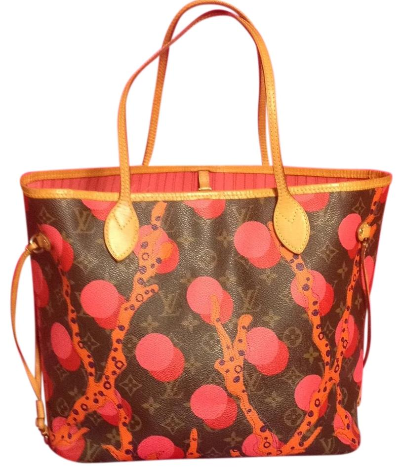 Louis Vuitton Collectors Sold Out Limited Edition Celebrity Rare Tote in  Red Coral Pink Monogram ... f3d467dcb1cec