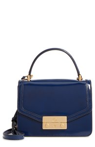 Tory Burch Vintage Push-lock Closure Chic Glossy Leather Satchel in Royal Navy