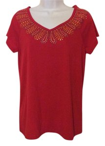Carolyn Taylor Studded Red Studded Summer Short Sleeve T Shirt Bright red