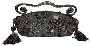 Mary Frances Beaded Floral Purse Satchel in Gray