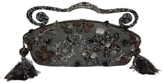 Preload https://img-static.tradesy.com/item/23304291/mary-frances-metallic-beaded-floral-jeweled-gray-fabric-satchel-0-1-540-540.jpg