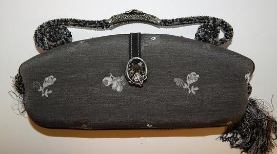 Mary Frances Beaded Floral Purse Satchel in Gray Image 4