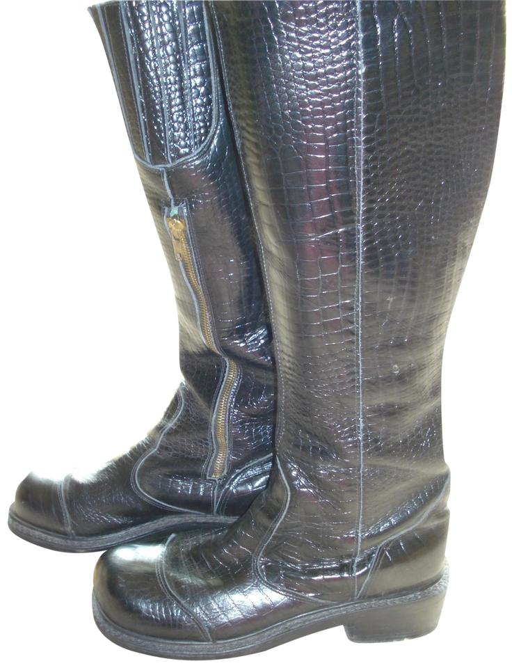 2e9906fe337 Black Leather Embossed Motorcycle Boots/Booties Size US 9.5 Regular (M, B)