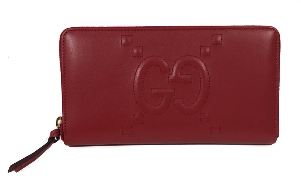 28d061ad256 Gucci Red 453396 Apollo Embossed Gg Zip Around Leather Wallet - Tradesy