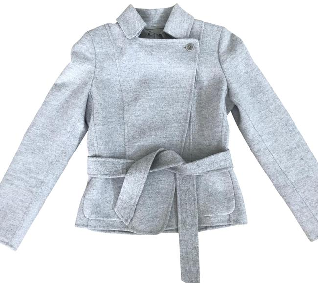 Item - Grey Double Faced Virgin Wool and Angora Rabbit Handmade Belted Slim Jacket with Pockets Coat Size 2 (XS)