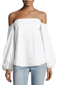 Theory Off The Shoulder Cold Shoulder Poplin Top White