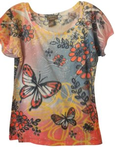 Jane Ashley Butterfly Sleeve Floral T Shirt Multi-Color