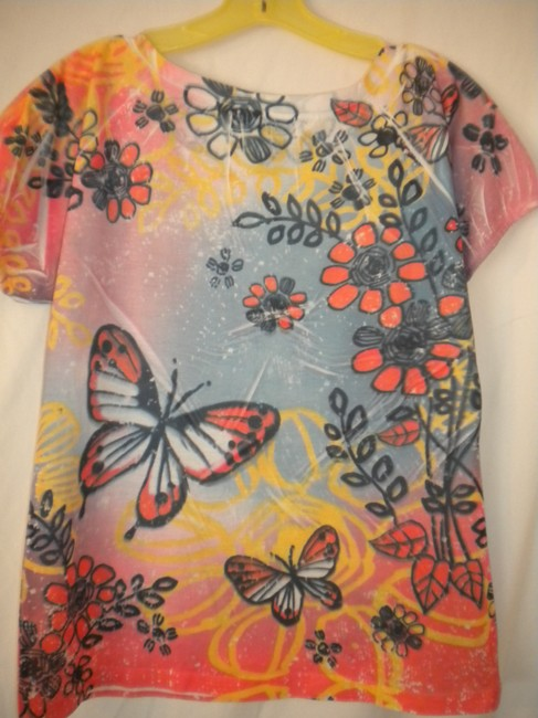 Jane Ashley Butterfly Sleeve Floral T Shirt Multi-Color Image 3