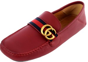 Gucci Red Marmont 450891 Men's Gg Leather Webstripe Driver Shoes