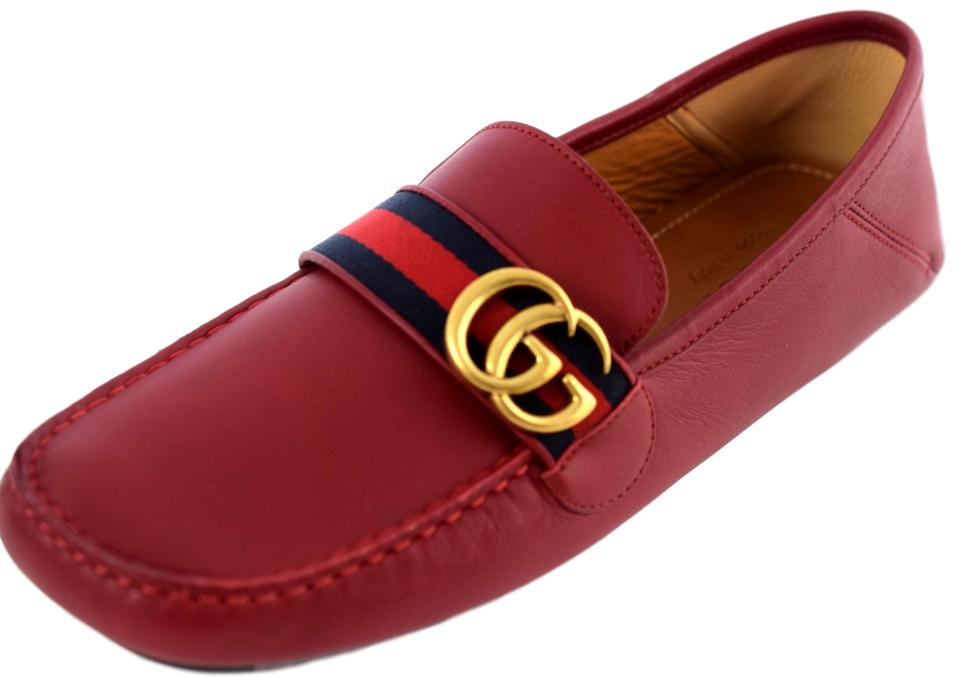 aff9a241f Gucci Red Marmont 450891 Men's Gg Leather Webstripe Driver Shoes Image 0 ...