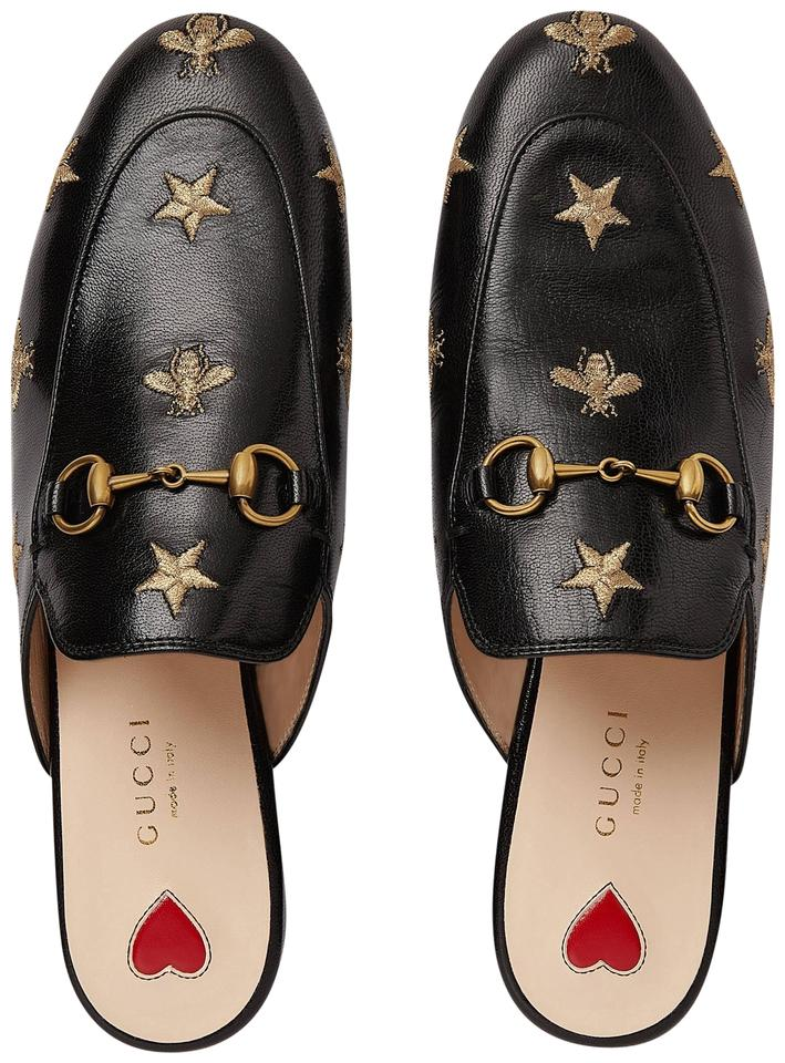 b09f492baa8 Gucci Black Princetown Embroidered Bees Stars Leather Slipper Mules Slides.  Size  EU 41 ...