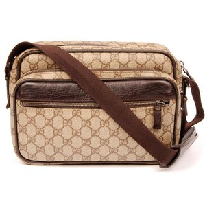 Gucci Reporter Pvc Canvas Leather Cross Body Bag