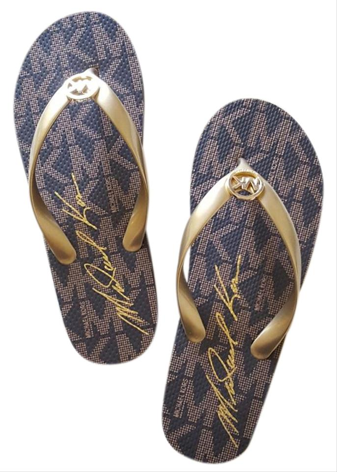 best value excellent quality best quality Michael Kors Brown Jet Set Mk Rubber Flip-flop Sandals Size US 7 Regular  (M, B)