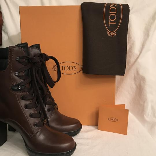 Tod's Leather Platform Designer Work Style Gunmetal Brown Black Boots Image 7