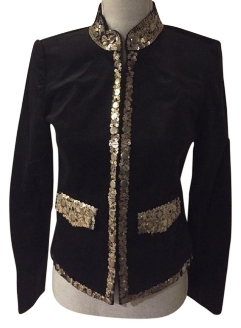 Item - Black / Gold W Velvet Long Sleeve W/Accented Sequins Jacket Size 4 (S)