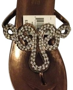 Mojo Moxy Bronze heel and sole with clear shimmering beads. Sandals