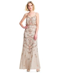 Adrianna Papell Boho Beaded Gown Evening Dress