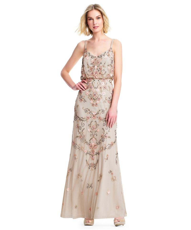 Adrianna Papell Champagne Boho Beaded Blouson Gown Long Formal Dress ...
