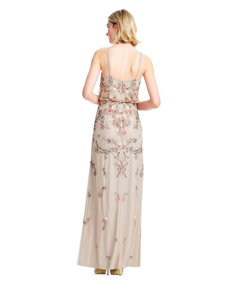 1e0dd70e3 Adrianna Papell Champagne Boho Beaded Blouson Gown Long Formal Dress ...
