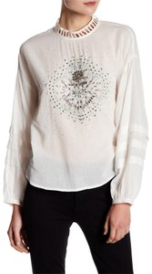 Free People Longsleeve Embellished Button Cotton Lace Trim Top ivory