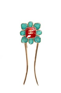 Chanel Seoul Collection Red & Blue Jewel Accent Hair Pin