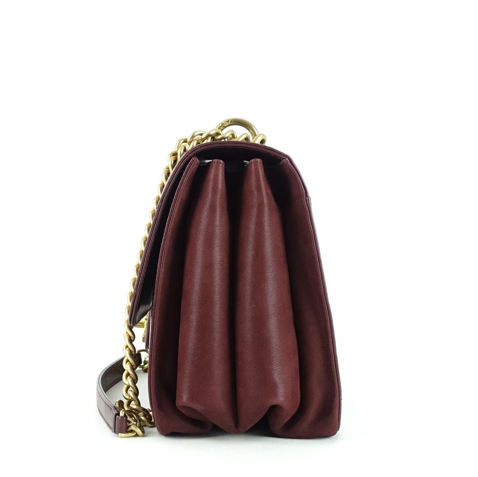e40d14a41afc95 Chanel Classic Flap Straight Line Burgundy Calfskin Leather Shoulder Bag -  Tradesy
