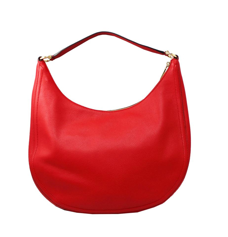 550650dc6ce32 Michael Kors Lydia Large Bright Red Pebled Leather Hobo Bag - Tradesy