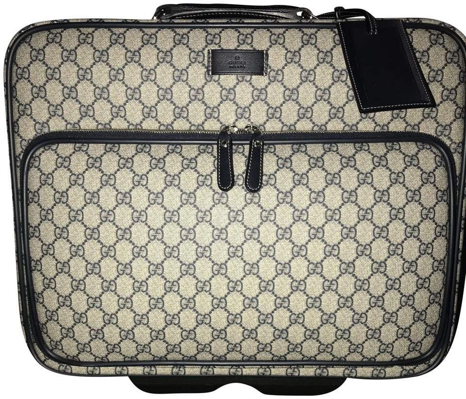 2fdd361e42ea9a Gucci Pilot Carry-on Rolling Luggage Navy Blue Gg Supreme Canvas ...