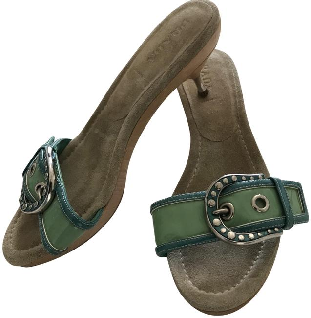 Item - Turquoise and Green Buckle Detail Mules/Slides Size EU 40 (Approx. US 10) Regular (M, B)