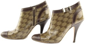 Gucci Monogram Ankle Crystal Gg Monogram Brown Boots