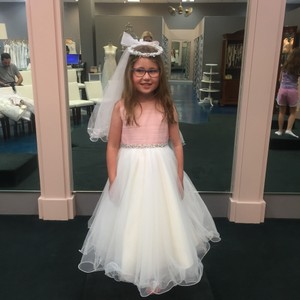 Mon Cheri Pink/Ivory Tulle Joan Calabrese For Flower Girl 116391 Traditional Bridesmaid/Mob Dress Size Petite 6 (S)