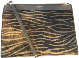 KG Kurt Geiger Zebra Print Leather Black & Green Clutch