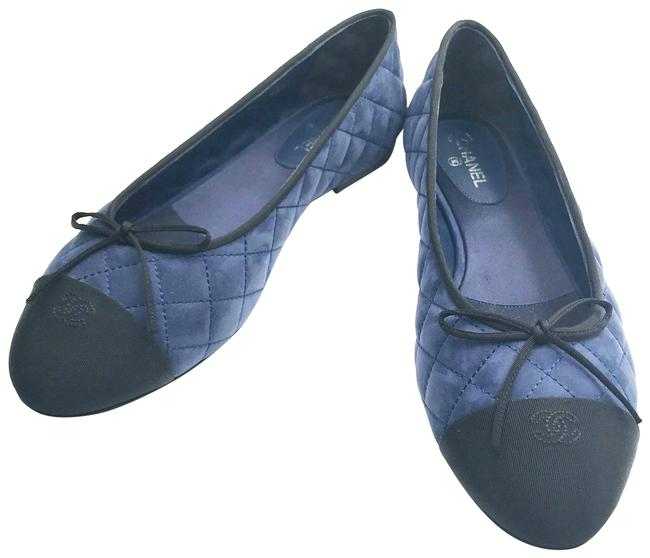 Item - Blue Black Leather Ballerina Flats Size EU 38 (Approx. US 8) Wide (C, D)