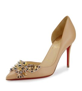 Christian Louboutin Made In Italy Luxury Designer Red Sole Spikes Stud Pointed Toe Nude Pumps