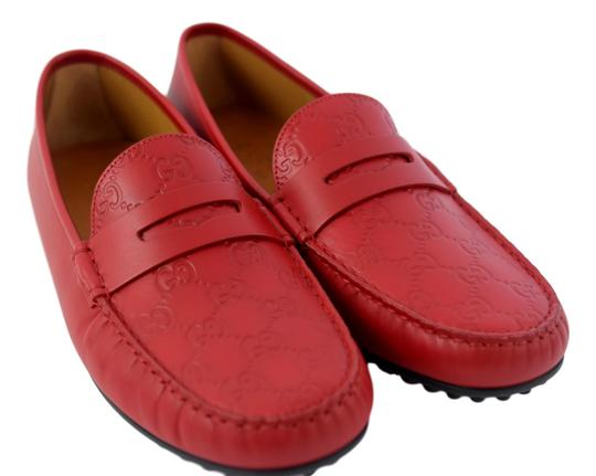 Gucci Red 431063 Men's Gg Guccissima Driver 12.5g/13.5-14.5us Shoes Image 4