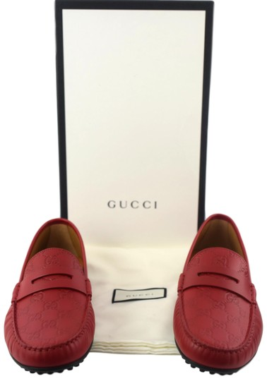Gucci Red 431063 Men's Gg Guccissima Driver 12.5g/13.5-14.5us Shoes Image 9