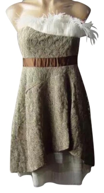 Preload https://img-static.tradesy.com/item/23305984/ryu-olive-green-cream-modcloth-green-strapless-feather-cocktail-short-casual-dress-size-6-s-0-1-650-650.jpg
