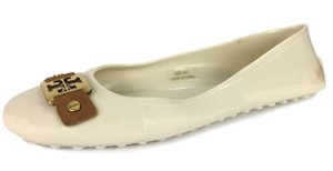 Tory Burch Plastic Logo Ballet Casual Comfortable White Flats
